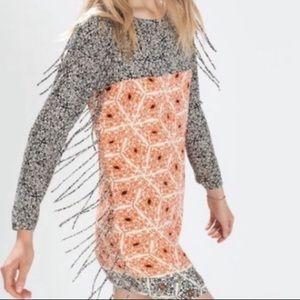 Zara Mosaic fringe dress